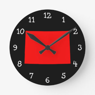 Black and Red Colorado Round Clock