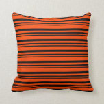 [ Thumbnail: Black and Red Colored Lined/Striped Pattern Pillow ]