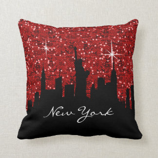 Black and Red Confetti Glitter New York Skyline Pillow