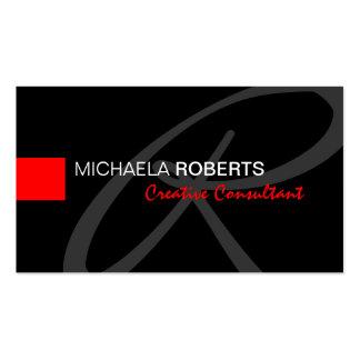 Black and Red Creative Consultant Elegant Monogram Business Card