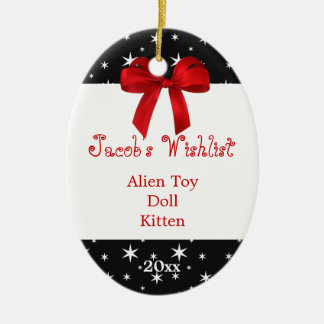 Black and Red Custom Wishlist Ornament