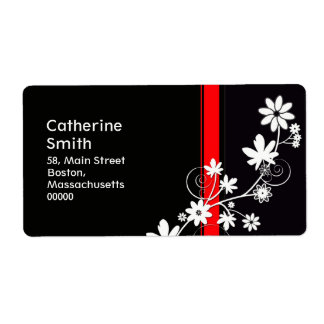 Black and Red Daisy Address Labels