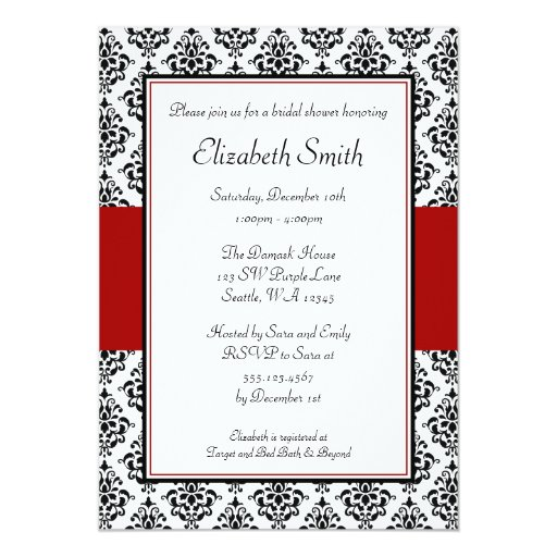 1 000 black white red damask invitations black white red for Black and white bridal shower invitations