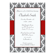 Black And Red Damask Bridal Shower Invitations at Zazzle