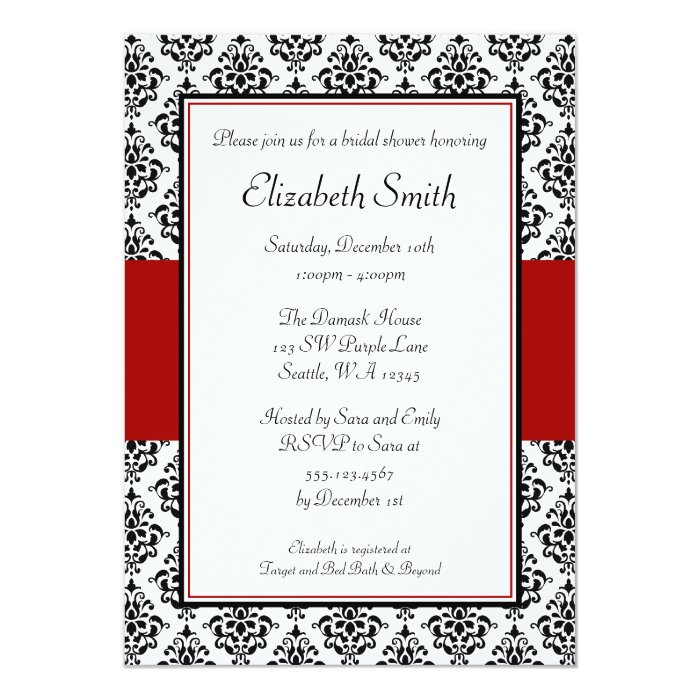 Black and Red Damask Bridal Shower Invitations