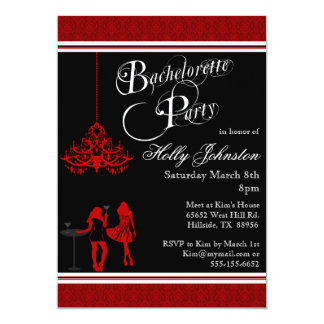 Black and Red Damask Chandelier Bachelorette Party Card