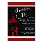 Black and Red Damask Chandelier Bachelorette Party 5x7 Paper Invitation Card