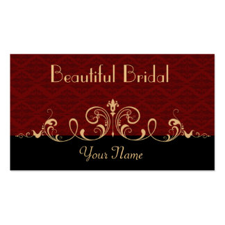Black and Red Damask Gold Scroll Business Card