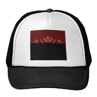 Black and Red Damask Gold Scroll Trucker Hat