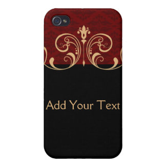 Black and Red Damask Gold Scroll iPhone 4 Cover