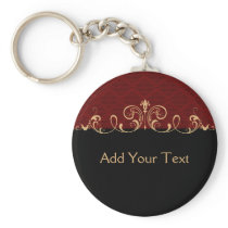 Black and Red Damask Gold Scroll Keychain