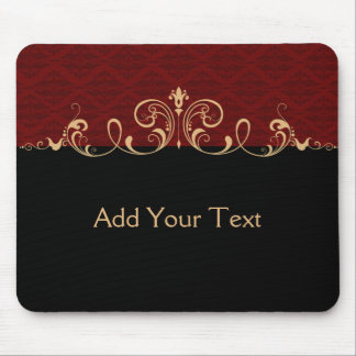 Black and Red Damask Gold Scroll Mouse Pad