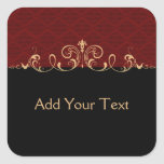 Black and Red Damask Gold Scroll Square Sticker
