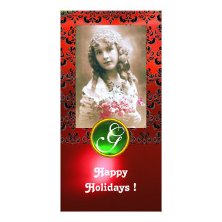 BLACK AND RED DAMASK Green Emerald Monogram Photo Card