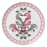 Black and Red damask heart plate