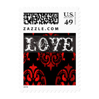 black and red damask Love Stamps