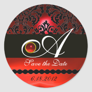 BLACK AND RED DAMASK MONOGRAM, Ruby Classic Round Sticker