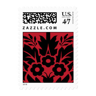 Black and Red Damask Pattern Postage