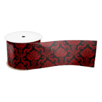 Black and Red Damask Pattern Ribbon