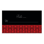 Black and Red Damask Place Cards Business Cards