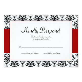 Black and Red Damask Response Card