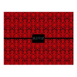 Black and Red Damask RSVP Postcard