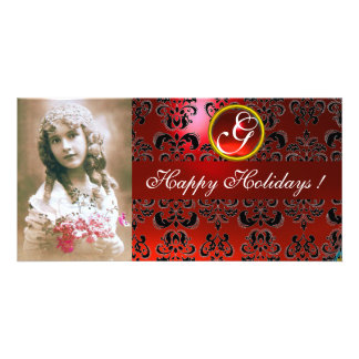 BLACK AND RED DAMASK Ruby Monogram Card