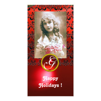 BLACK AND RED DAMASK Ruby Monogram Personalized Photo Card