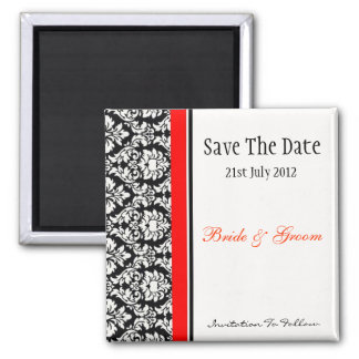 Black and Red Damask Save The Date 2 Inch Square Magnet