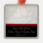 Black and Red Damask Save The Date Ornament