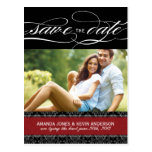 Black and Red Damask Save the Date Postcards