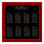 Black and Red Damask Seating Chart Poster