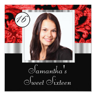 Black and red damask sweet sixteen card