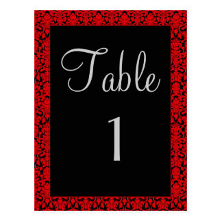 Black and Red Damask Table Number Cards Postcards