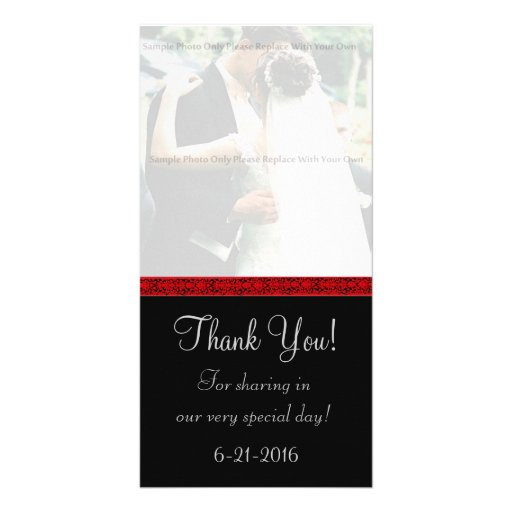 Black and Red Damask Thank You Card Personalized Photo Card
