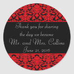 Black and Red Damask Thank You Stickers