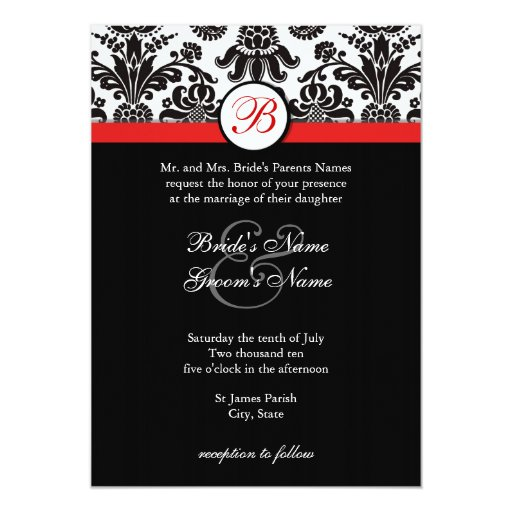 Black And Red Wedding Invitations: Black And Red Damask Wedding Invitation