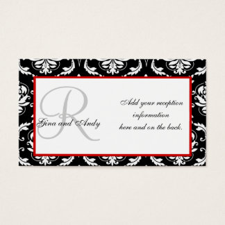 Black and Red Damask Wedding Reception Cards