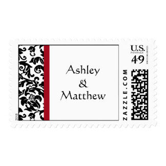 Black and Red Damask Wedding stamps