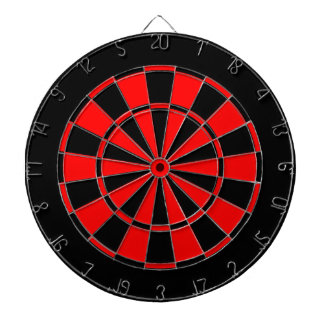 black and red dartboard with darts