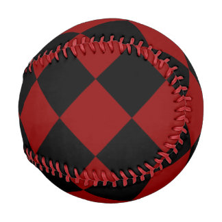 Black and Red Diamond Checker Print Baseball