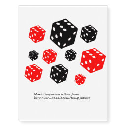 Black and red dice design temporary tattoos