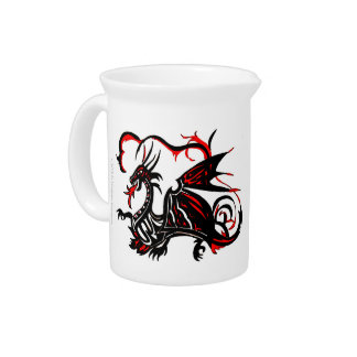 BLACK AND RED DRAGON BEVERAGE PITCHER