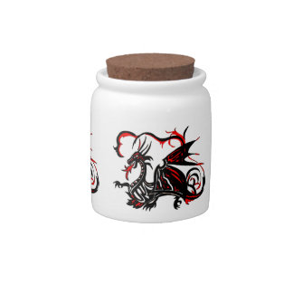 BLACK AND RED DRAGON CANDY JARS