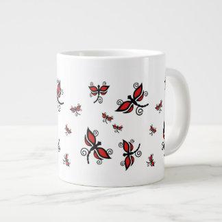 Black and red dragonflies Jumbo Mug