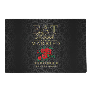 Black and Red - Eat Drink and Be Married Placemat