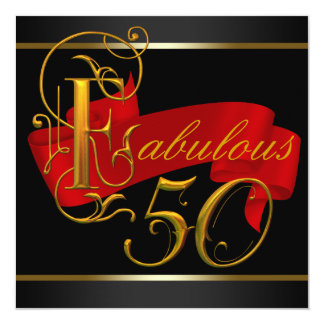 Black and Red Fabulous 50th Birthday Party Invites