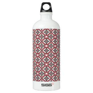 Black and Red Festival Aluminum Water Bottle