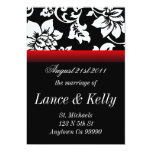 "Black and Red Floral 5"" X 7"" Invitation Card"