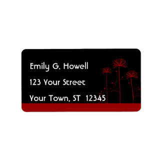Black and Red Floral Avery Label Personalized Address Label